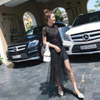 时尚品牌2019新款春装超仙法国小众蕾丝连衣裙两件套女法式复古山本黑色裙SN2038 黑色
