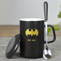 动漫杯子 创意咖啡杯 带勺带盖陶瓷水杯学生 儿童创意生日礼物送男友