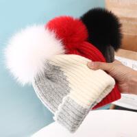 儿童帽子秋冬季狐狸毛球针织毛线6-12个月宝宝帽