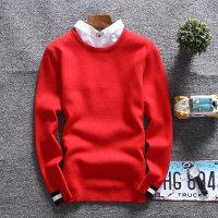 衬衫领毛衣男韩版冬季潮宽松红色本命年纯色假两件青年学生针织衫