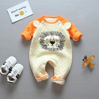 婴儿保暖连体衣0-12个月宝宝哈衣爬爬服新生的儿衣服夹棉秋冬满月