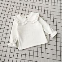 宝宝打底衫女1-3岁加厚女童加绒打底衣白色儿童娃娃领上衣婴儿T恤 米白 加绒荷叶翻领DJ18