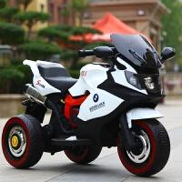 六一儿童节礼物儿童电动摩托车可坐人大号三轮车1-6岁男女宝宝双人可坐充电小孩遥控车宝宝电动汽车 白色 双驱+早教+遥控