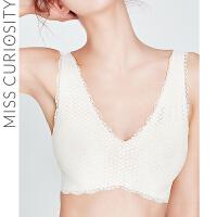 好奇蜜斯无钢圈无痕内衣女背心舒适文胸白色收副乳薄款显胸小胸罩
