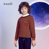 【2件35折:104.7】安奈儿童装男童2019冬季新款双色纱线混织全棉圆领毛衣
