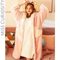 好奇蜜斯睡袍女秋冬保暖可外穿甜美睡衣珊瑚绒长款浴袍加绒加厚冬