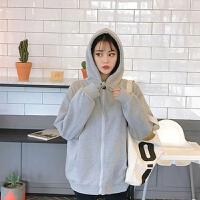 2019外套女秋季学生连帽加绒秋冬拉链长袖卫衣女韩版潮宽松