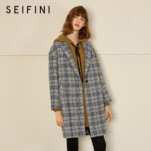 【折】诗凡黎秋冬新款韩版潮中长款毛呢大衣韩国格子毛呢外套女