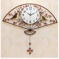 钟表挂钟客厅现代简约大气挂表卧室创意时钟静音石英钟家用梅花扇复古色送彩色蝴蝶26英寸