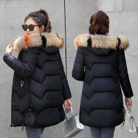 棉衣女中长款2019冬季大毛领保暖加厚外套修身显瘦冬装潮 M 建议85到100斤