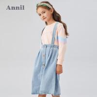 【活动价:119】安奈儿童装女童卫衣2020春季新款女宝宝中大童字母绣花套头上衣潮