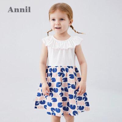 【活动价:81.59】安奈儿童装女童连衣裙2020夏季新款荷叶边领型活泼甜美连衣裙