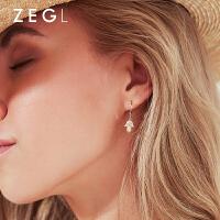 女士港风十字架星星耳钉耳饰925银复古冷淡风耳扣式耳环