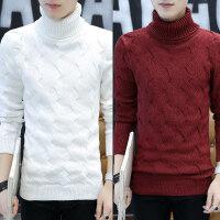 高领毛衣男韩版修身翻领纯色保暖针织衫个性潮流打底冬季加厚毛衫