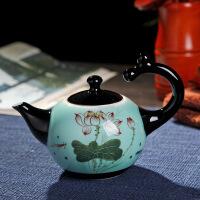 陶瓷功夫茶具套装家用简约景德镇青瓷手绘茶壶小茶杯茶盘* 图片色