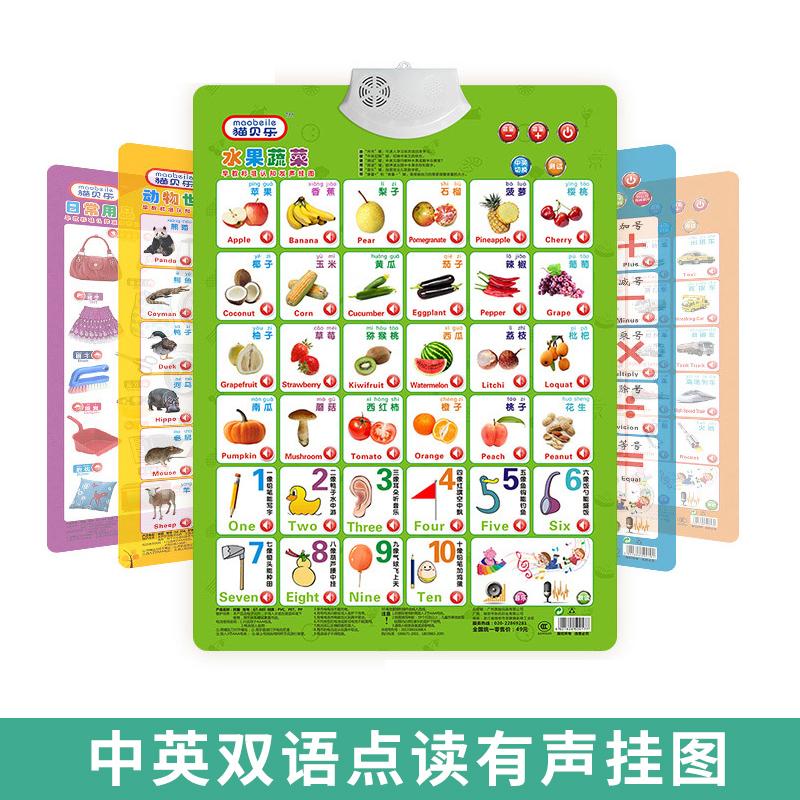 1-3-6岁儿童有声早教挂图挂画墙贴宝宝发声识字数字拼音挂图英文