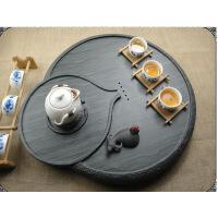 新款天然绿檀石材茶台圆形石磨茶托功夫茶具石头茶海单层排水茶盘