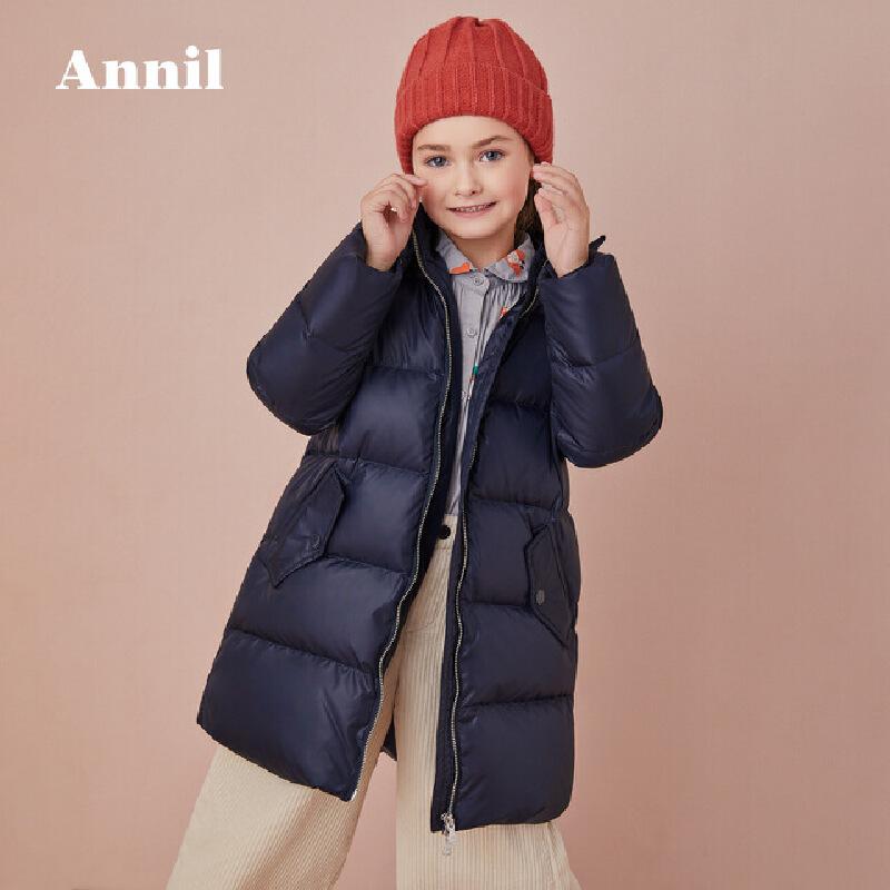 【3件3折:299.7】安奈儿童装女童羽绒服2019冬季新款保暖连帽长款灰鸭绒羽绒外套 简洁大方款羽绒服,便于穿搭