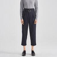 商场同款伊芙丽腰带直筒裤条纹显瘦九分裤长裤休闲裤女118A252802