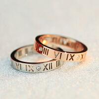 相思树 情侣戒指一对 镀18K玫瑰金色罗马数字食指关节戒指环男女式可做项链情人节礼物