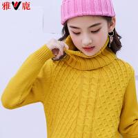 儿童毛衣套头针织衫新款女孩高领打底毛衫厚款2018