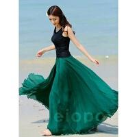 春夏季半身长裙波西米亚拖地长裙子度假大摆沙滩仙女裙雪纺半身裙