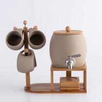 北欧创意陶瓷杯具大容量套装白瓷水杯冷水壶果汁饮料桶带铜水龙头