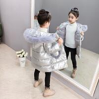儿童棉衣2018新款棉服加厚女孩洋气中长款亮面外套