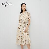 伊芙丽连衣裙女2020年新款夏季收腰系带桔梗裙初恋裙法式印花裙子