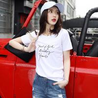 【新品特惠】 白色英文字母t恤女2019新款短袖夏季韩范宽松纯棉印花简约打底衫 白色