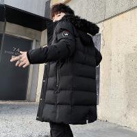 棉衣男冬季中长款羽绒袄冬装潮流宽松加肥加大码胖子男士外套