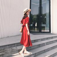 2019夏季新款韩国沙滩巴厘岛海边度假长裙显瘦三亚连衣裙 红色