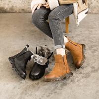 玛菲玛图2020秋冬新款女士棉鞋厚底短靴欧美皮毛一体保暖短筒雪地靴811392-34YML