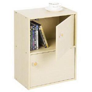 [当当自营]慧乐家 二层带门柜11201 木纹色 储物收纳柜子 书柜书架