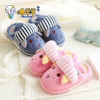 儿童棉拖鞋包跟男孩女童1-3岁托秋冬季fang滑软底小孩宝宝居家棉鞋