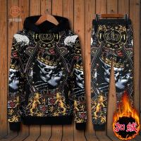 欧美摇滚骷髅花纹带帽加绒卫衣外套休闲运动长裤套装两件套大码