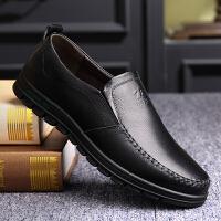 宜驰 EGCHI 商务休闲男士皮鞋头层牛皮驾车鞋软底舒适工作套脚皮鞋子 KD8801-1