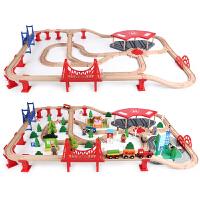 木质托马斯小火车轨道套装磁性电动车头3-5-7岁男孩积木儿童玩具定制