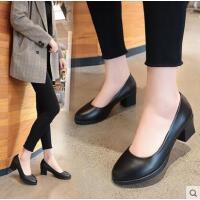 黑色圆头中跟皮鞋女单鞋粗跟酒店银行上班鞋职业工鞋女鞋