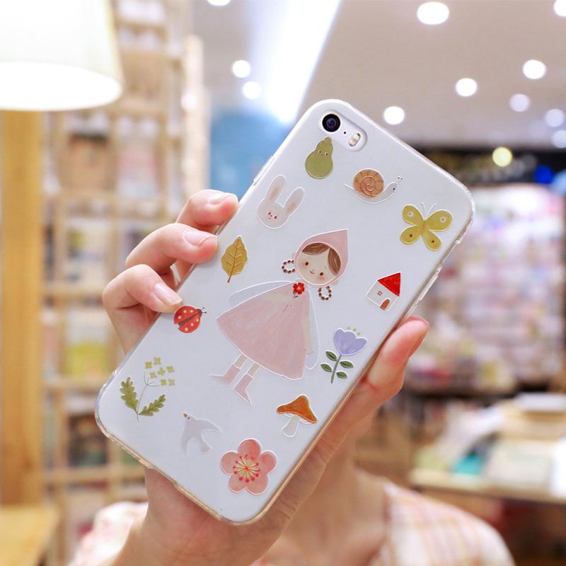 苹果5/5s/5se硅胶手机壳软iphone5/5s/5se手机壳女款透明套硅胶防摔全包边支架清新可