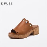 【一口价:164元】D:Fuse/迪芙斯春季商场同款羊皮鱼嘴舒适女鞋拖鞋DF71115019