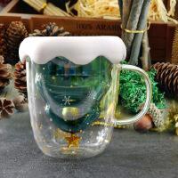 圣诞树双层玻璃杯300ML少女创意星愿杯网红水杯子家用早餐杯圣诞节礼物