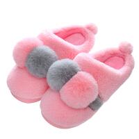 儿童棉拖鞋室内兔毛宝宝拖鞋中大童一家三口棉鞋女孩