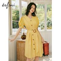 伊芙丽连衣裙2020年新款夏季法式收腰泡泡袖蛋黄的长裙气质裙子女