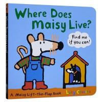 进口英文小鼠波波住哪里?Where Does Maisy Live?纸板翻翻书