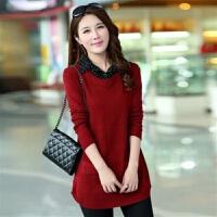 秋冬季韩版大码女装中长款修身假两件长袖毛衣女衬衫领针织衫