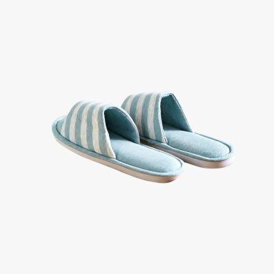 当当优品 纯棉日式针织家居拖鞋 软底四季拖 敞口款 条纹款