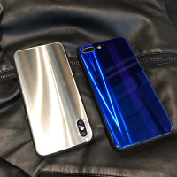 炫酷流光镭射玻璃壳iPhoneX手机壳苹果6s/7plus/8全包防摔情侣套 iPhone X 镭射金【玻璃】
