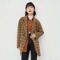 诗凡黎2020冬季新品小个子翻领格子外套呢子大衣
