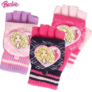 芭比公主女生儿童宝宝手套冬季卡通针织半指翻盖魔术手套